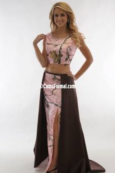 9063-S7076 Two Piece Camo Crop Top, Slim Skirt with Overskirt