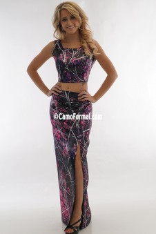 9063-S3037 Camo Crop Top and Slim Camo Skirt