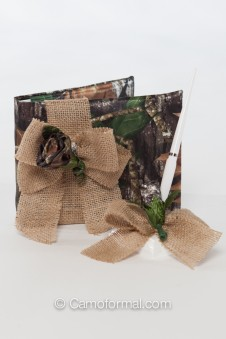 Camo and Burlap Bow Guest Book and Pen Set