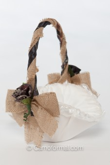 Camo and Burlap Flower-girl Basket