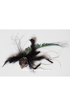 Peacock, Black Feathers, CAMO ROSE Hair Clip