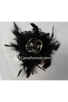 Camo Rose, Feathers and Ribbon Hair Clip