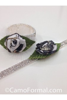* Rhinestone Necklace and Bracelet with Tiny Rose