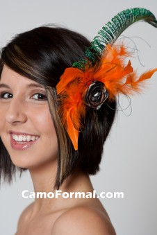 Peacock, Orange Feathers, CAMO ROSE Hair Clip