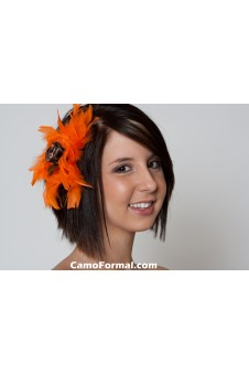 Camo Rose, Orange Feathers Hair Comb