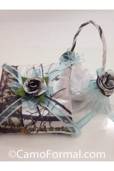 Basket and Pillow, Camo and Organza Ribbon
