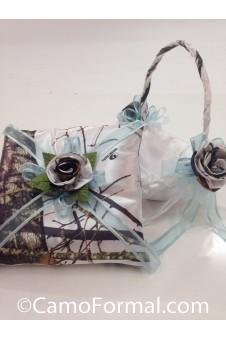 Basket and Pillow, Camo and Organza Ribbon