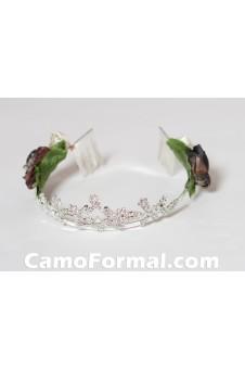*Rhinestone Tiara with Camo Roses