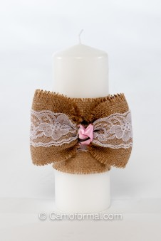 Camo Tiny Rose, Burlap and Lace Unity Candle