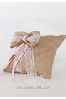 Camo Tiny Rose, Burlap and Lace Pillow