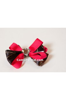 Camo Hair Barrette with Crystal Heart