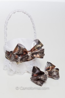 Flower-girl Camo and Lace Basket and Bling Bow