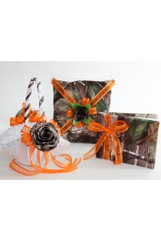 Basket, Pillow, Guest Book Camo and Organza Ribbon