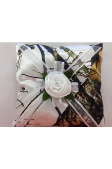 Snow Camo and White Rose Pillow