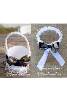 Denim & Camo Basket and Hair Wreath