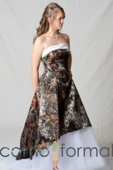 "SALE 3010 Mossy Oak ""Madeline"" Hi-Low Wedding Gown with Train"