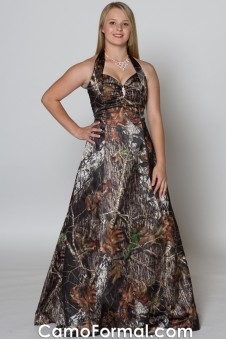 SALE 3049 Mossy Oak A-Line Halter with Rhinestone