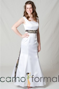 8997 Empire Mermaid Square Neck, Sleeveless, Jeweled Sash