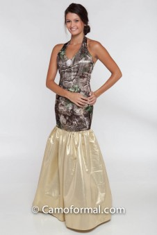 *PR 6332 Halter Drop Waist and Metallic Lame