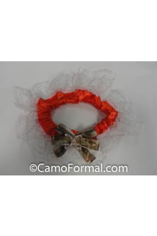 Orange Garter Camo Ribbon-Rhinestone Ornament