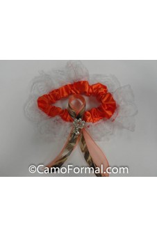 Orange Garter Camo Ribbon and Rhinestone Drop