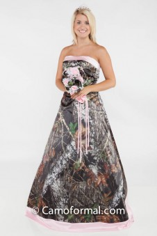 * 3055 Full Camo Quinceanera Dress