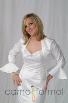 "Jacket ""Matte Satin"" Bolero with Poet Sleeves"