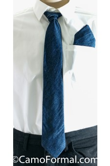 * Men's Long Denim Tie and Pocket Square Set