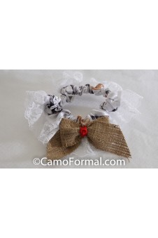 * Camo Burlap and Ribbon Bow  Bridal Garter