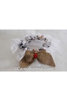 * Camo Burlap and Ribbon Bow  Bridal Garter