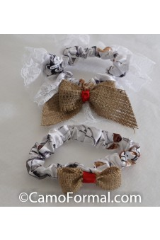 * Camo Burlap and Ribbon Bow Bride & Groom Garter Set