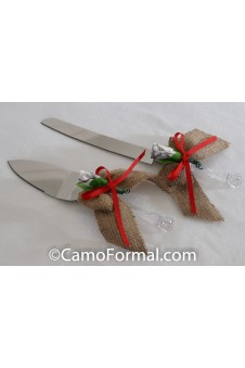* Camo Burlap and Ribbon Bow Cake and Knife Server Set