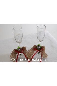 * Camo Burlap and Ribbon Bow  Fluted Toasting Glasses