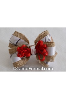 * Camo Burlap and Ribbon Hair Bow