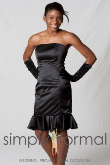 8075 Short Dress with Flair Ruffle