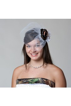 *Birdcage Veil with Camo Rose