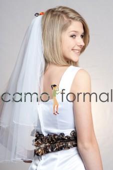 *Rosebud Camo Waist Length Veil