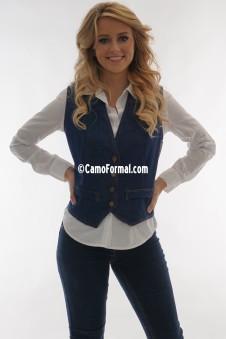 *Women's Denim Slim Vest with Jean Buttons