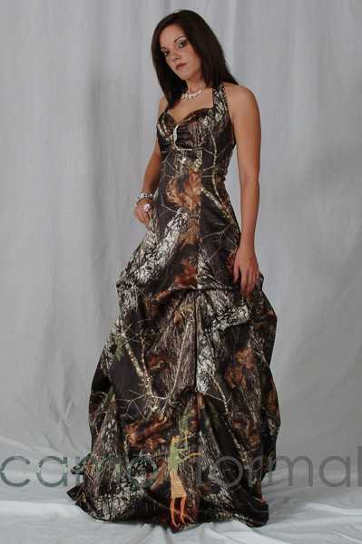 3042 Camo Halter Dress with Pickups Camouflage Prom ...