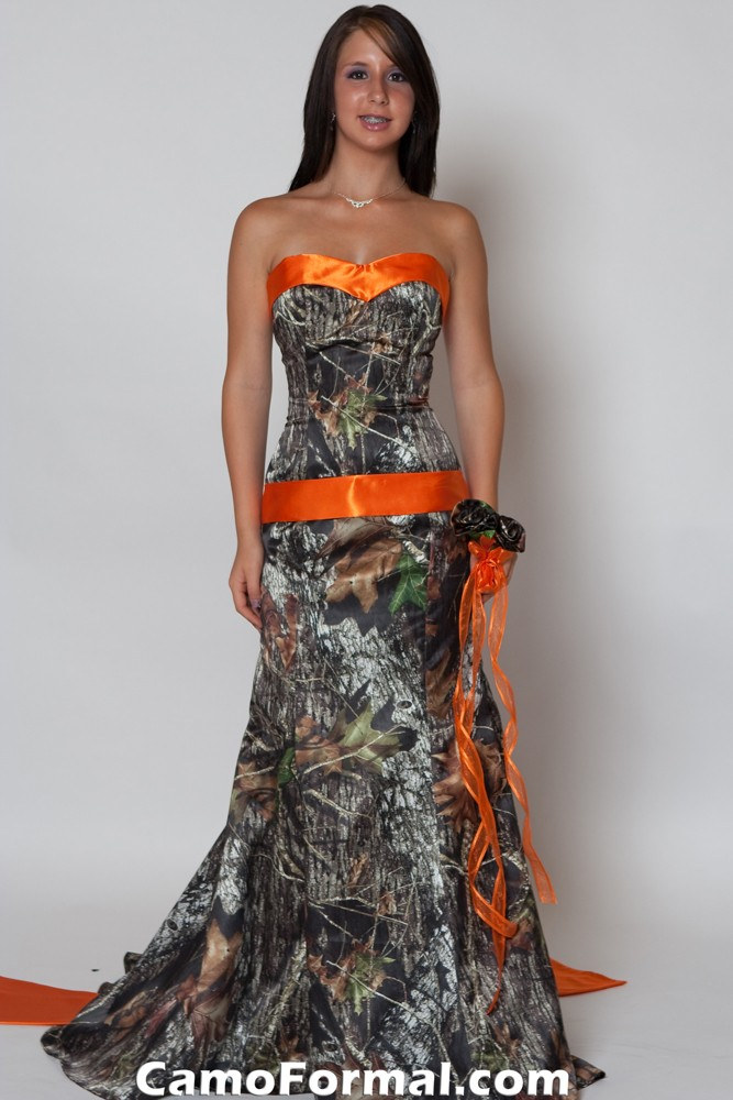 Orange and camo wedding dresses images, Cached.