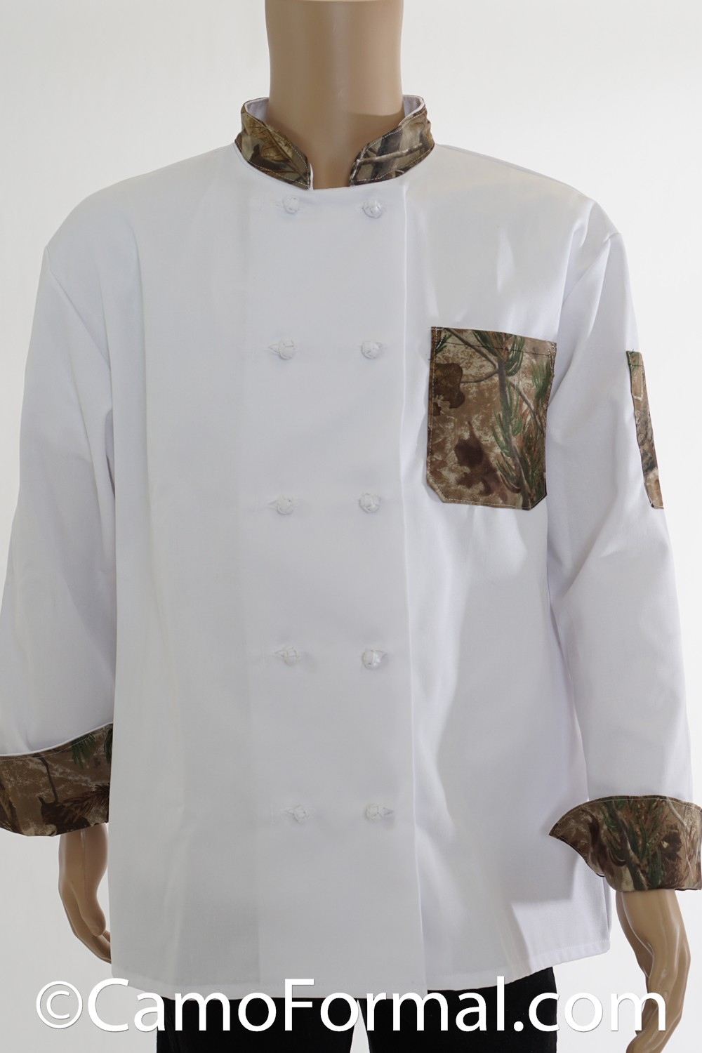 Chef Jacket Camo Trimmed Camouflage Prom Wedding