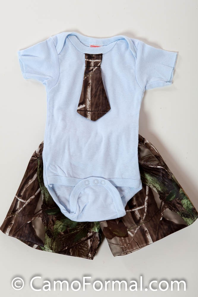 Baby Onesie Tie And Shorts Camouflage Prom Wedding