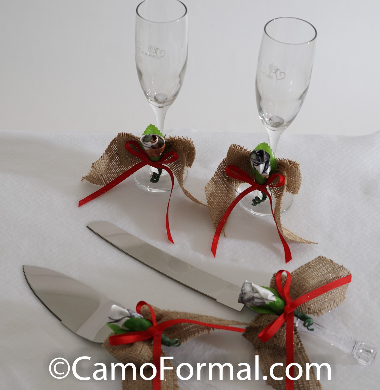 Camo And Burlap Cake And Knife Server Set Camouflage Prom